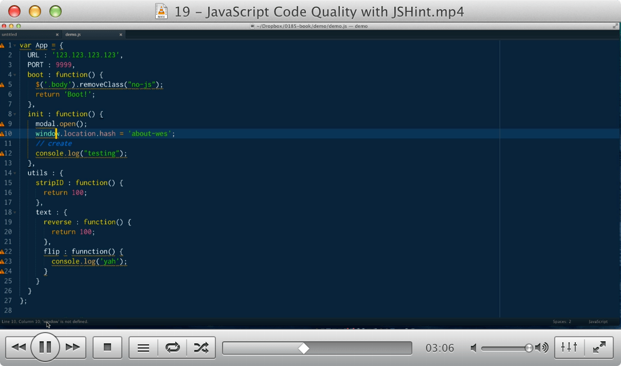 19 - JavaScript Code Quality with JSHint
